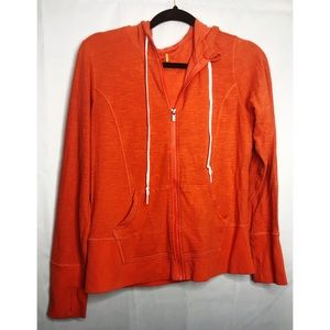 LUcy Large full zip orange hooded sweatshirt
